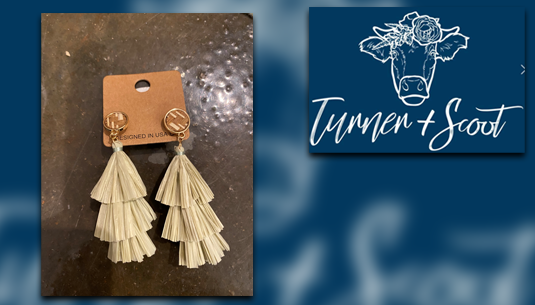 Basket Detail Dangle Earrings with Sage Green Tassel_Turner and Scoot