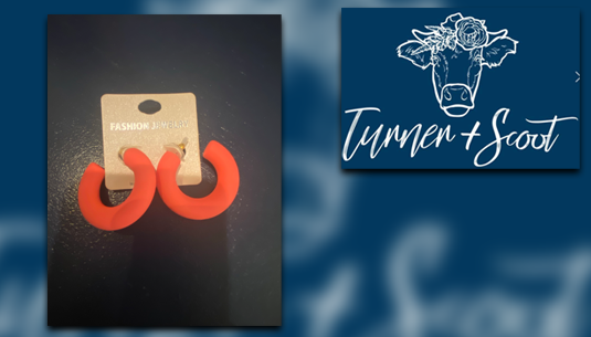 Rubber Chubby Hoop Earrings in Coral_Turner and Scoot