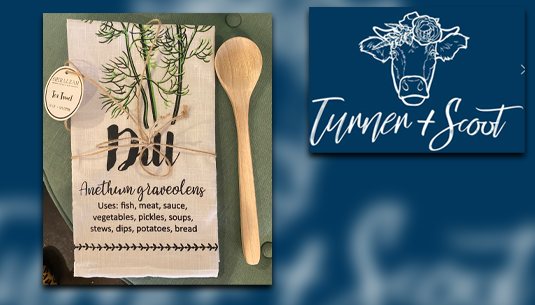 Shiraleah Dill Tea Towel w. Wooden Spoon_Turner and Scoot