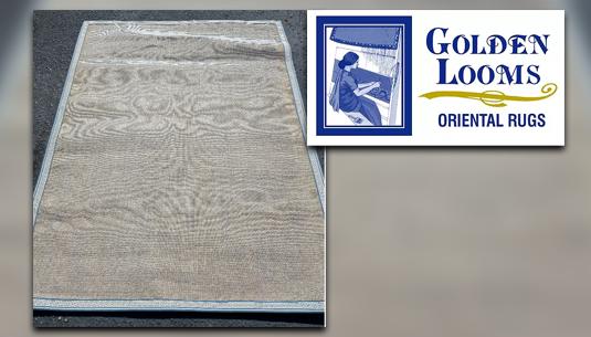 5x7 Handmade Tan with Blue Trim Rug_Golden Looms Oriental Rugs